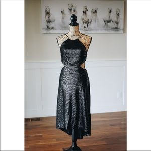 Halston Heritage Black Sleeveless Metallic Dress